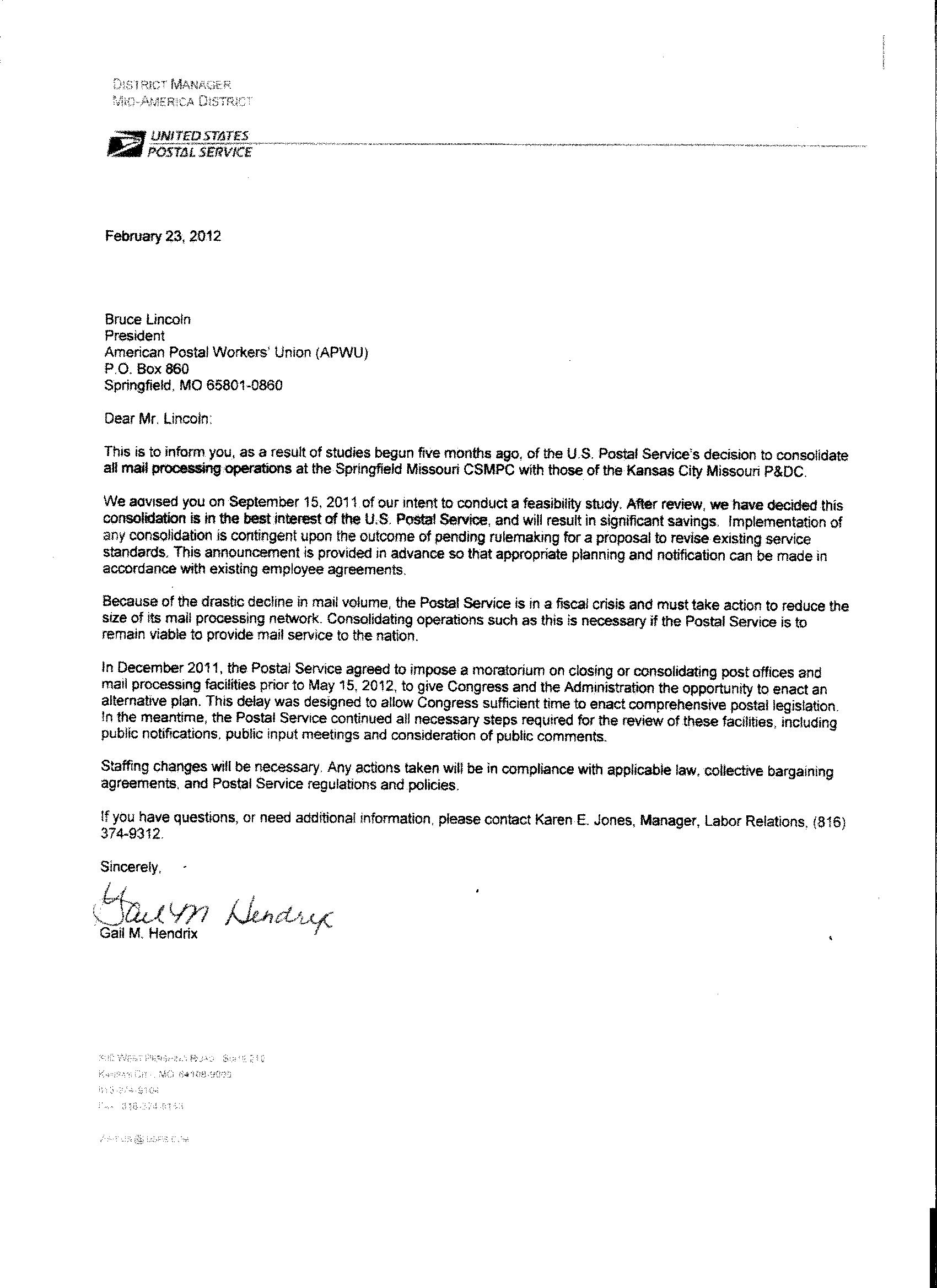 letter received from gail hendrix  usps